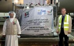 """الصورة: الصورة: الإمارات ترسل مساعدات طبية إلى الأوروغواي لتعزيز جهودها في مكافحة """" كوفيد - 19 """""""