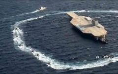 الصورة: الصورة: إيران..مجسّم عسكري يحاكي حاملة طائرات يثير غضب أمريكا