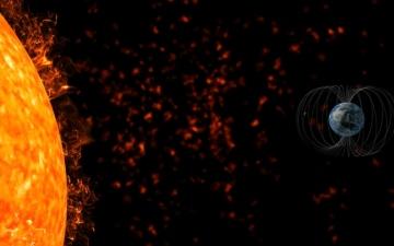 الصورة: الصورة: رياح شمسية تضرب الأرض بسرعة 600 كم في الثانية