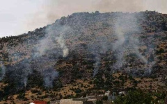 الصورة: الصورة: طائرات حربية إسرائيلية تقصف مواقع حماس في غزة وحزب الله في لبنان