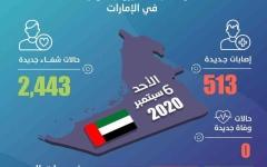 الصورة: الصورة: الإمارات تسجل 513 إصابة جديدة وصفر وفيات بفيروس كورونا