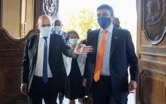 الصورة: الصورة: عبدالله بن زايد يلتقي وزير خارجية فرنسا