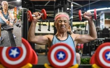 """الصورة: الصورة: شاهد .. """"الجدة الرياضية"""" تخسر 14 كيلوغراماً في 3 أشهر"""