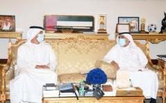 الصورة: الصورة: حمدان بن راشد يستقبل كبار موظفي مركز دبي التجاري العالمي
