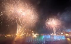 الصورة: الصورة: بالفيديو..دبي تدشن نافورة النخلة الأكبر عالمياً