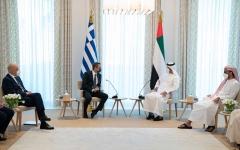 الصورة: الصورة: محمد بن زايد وميتسوتاكيس يشهدان إعلان الشراكة بين الإمارات واليونان