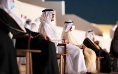 الصورة: الصورة: محمد بن راشد ومحمد بن زايد والحكام يشهدون الاحتفال الرسمي باليوم الوطني الـ 49