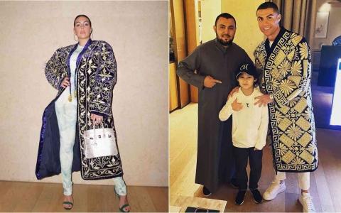 الصورة: الصورة: إطلالة غير مألوفة لرونالدو وصديقته في دبي