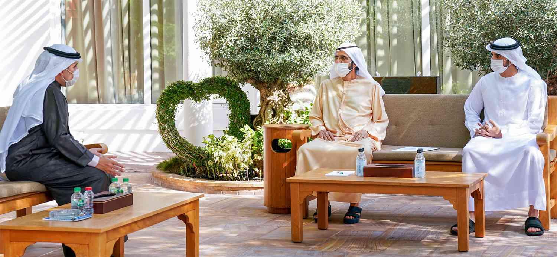 الصورة : محمد بن راشد وحمدان بن محمد خلال استقبال أحمد الصباح | تصوير: خليفة عيسى