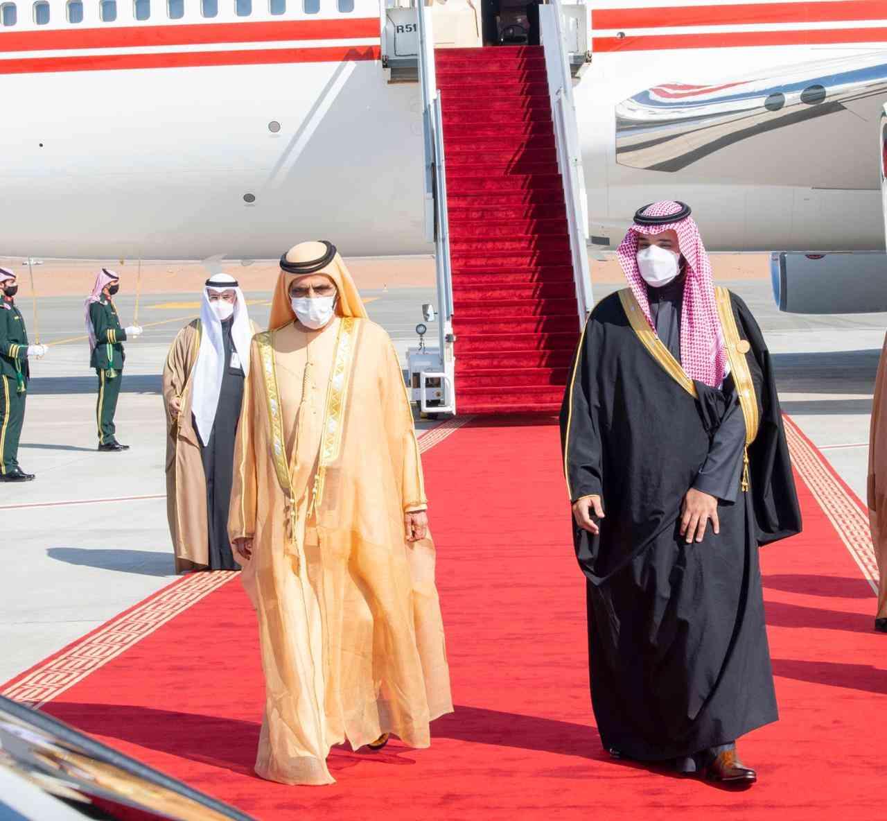 الصورة : ولي العهد السعودي يستقبل صاحب السمو الشيخ محمد بن راشد آل مكتوم