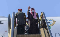 """الصورة: الصورة: أمير الكويت يغادر السعودية ويصف """"بيان العلا"""" بأنه """"إنجاز خليجي وعربي"""""""