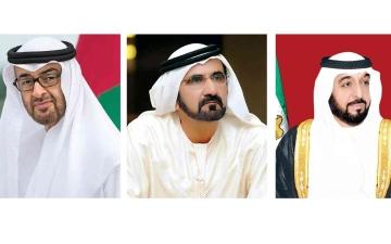 الصورة: الصورة: خليفة ومحمد بن راشد ومحمد بن زايد والحكام  يعزون خادم الحرمين في وفاة خالد بن عبد الله
