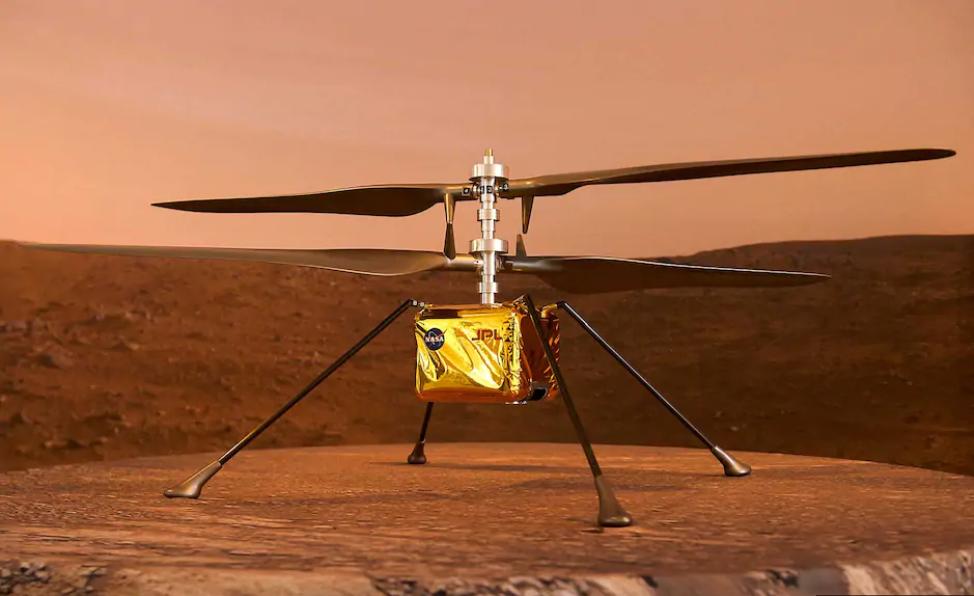 الصورة : طائرة هليكوبتر Ingenuity ترافق مركبة ناسا إلى المريخ