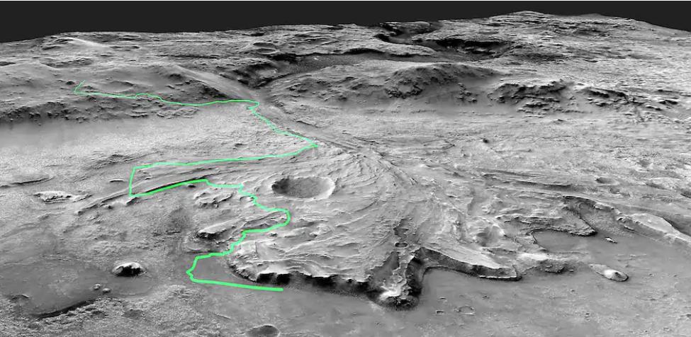 الصورة : مسار الطريق الذي يأمل العلماء استكشافه لدراسة دلتا نهر المريخ القديم