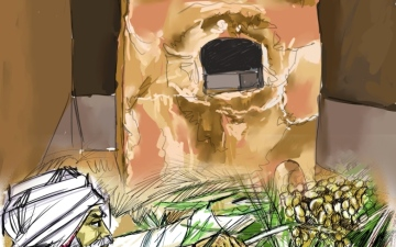 الصورة: الصورة: المِدْبَس..  حجرة استخلاص عسل التمر