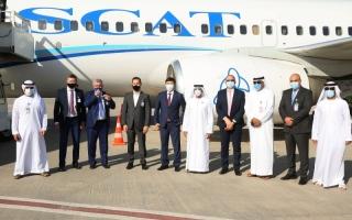 الصورة: الصورة: مطار رأس الخيمة يستقبل أول رحلة لشركة «سكات إيرلاينز»