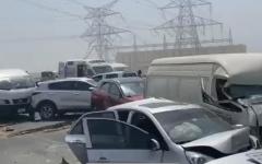 الصورة: الصورة: تصادم 34 مركبة على شارع الإمارات بالاتجاه من دبي إلى الشارقة