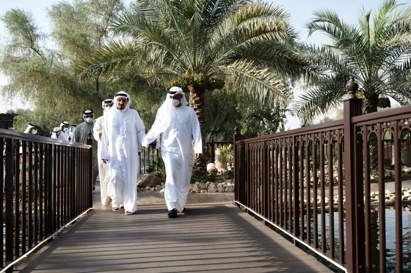 الصورة : محمد بن زايد وحميد النعيمي خلال اللقاء