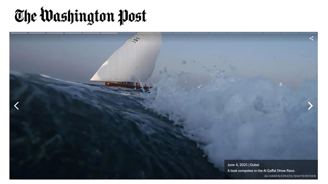 الصورة : تغطية للسباق على موقع صحيفة واشنطن بوست   البيان