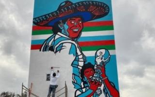 """الصورة: الصورة: جدارية في """"أزتيكا"""" المكسيكي تخليداً لهدف مارادونا التاريخي"""