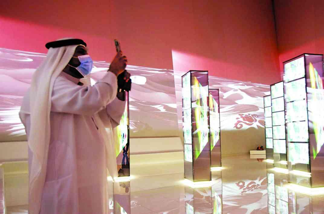 الصورة : » مشهد من داخل الجناح القطري