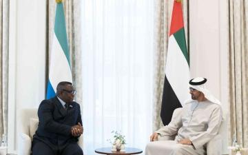 الصورة: الصورة: محمد بن زايد يستقبل رئيس سيراليون