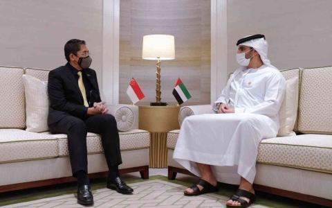 الصورة: الصورة: منصور بن محمد يبحث مع وزير مكتب رئيس الوزراء السنغافوري تجربة الإمارات الناجحة في مكافحة كوفيد19
