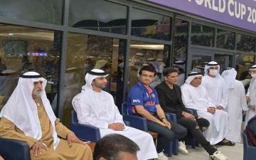 الصورة: الصورة: منصور بن محمد يشهد قمة الهند و باكستان للكريكت على ملاعب مدينة دبي الرياضية